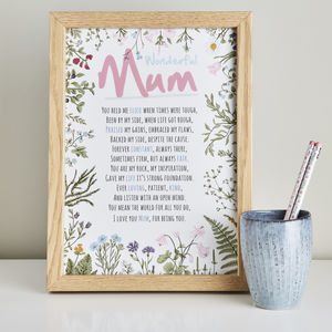 Poem Gift For Mum Wonderful Mum
