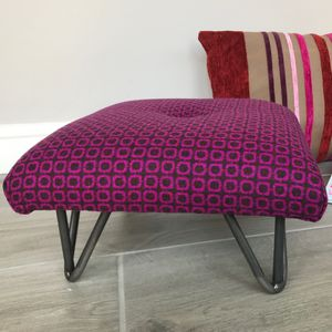 'Piccadilly Circles' Retro Footstool With Hairpin Legs