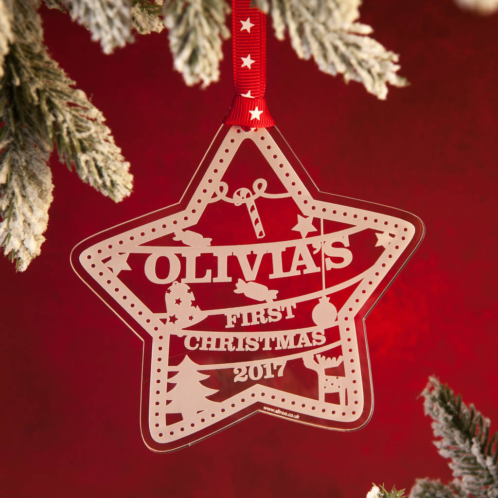 Personalised Baby S First Christmas Decoration By Aliroo