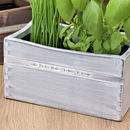 Stamped Personalised Message on White Herb Planter