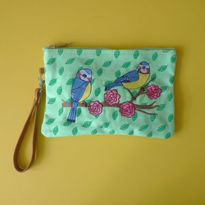 Blue Tits Cosmetic Pouch / Clutch - sale