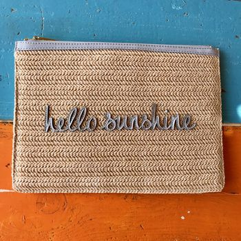 Personalised Woven Straw 'Hello Sunshine' Pouch