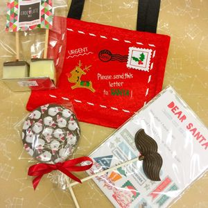 Christmas Eve Bag With Santa Wish And Chocolates - christmas eve
