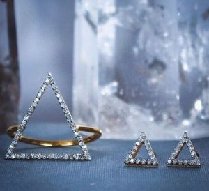14k Gold Vermeil Diamond Triangle Stud Earrings - earrings