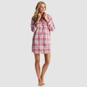 Womens Pink Check Brushed Cotton Nightshirt - women's fashion
