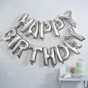 Silver Foiled Happy Birthday Balloon Bunting