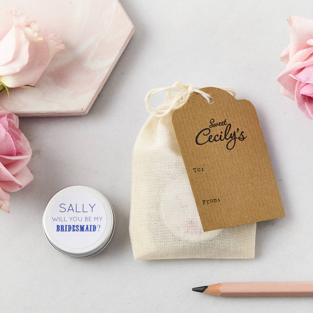 personalised will you be my bridesmaid lip balm gift by sweet ...