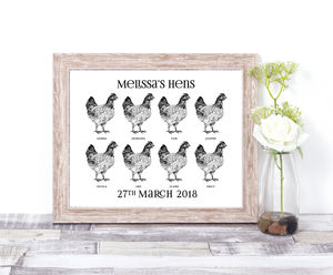 All The Hens Personalised Print