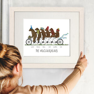 Personalised Family Gift Print, Bears On Tandem