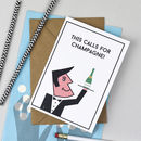 'Champagne!' Waiter Birthday Card Or Celebration Card