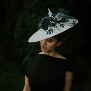 Dramatic Disk In Hat Black And White 'Aubry' - hats & fascinators
