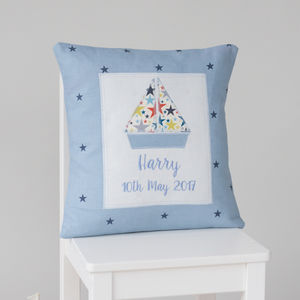 Personalised Handmade Little Boat Cushion - cushions