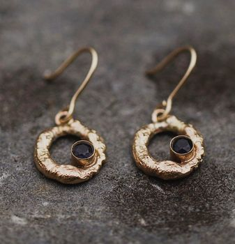 Water Earrings Solid 9ct Yellow Eco Gold With Gemstone