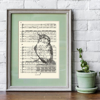 Singing Bird Screen Print On Vintage Sheet Music Paper