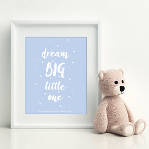 Personalised 'Dream Big Little One' Nursery Print - children's pictures & prints