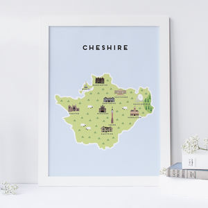 Map Of Cheshire Print