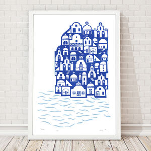 Santorini Limited Edition Art Print Framing Available - architecture & buildings