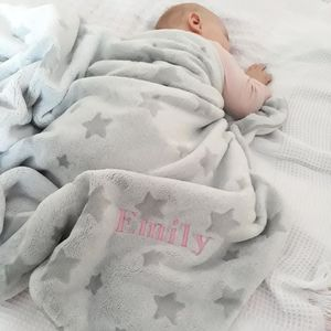 Personalised Star Print Thick Fleece Blanket - baby's room