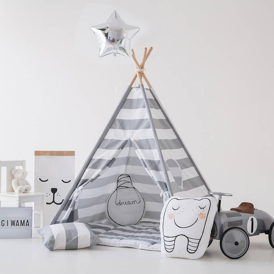 Monochrome Kids Teepee Tent Set With Window & monochrome kids teepee tent set with window by grattify ...
