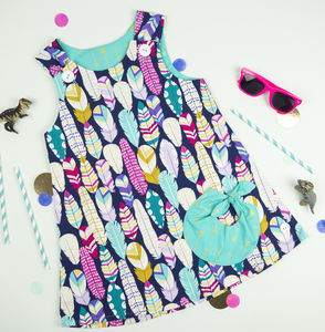 Girls Feather Print Bubble Pocket Dress