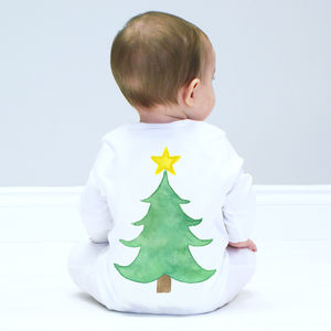 Christmas Tree Baby Sleepsuit - baby's first christmas