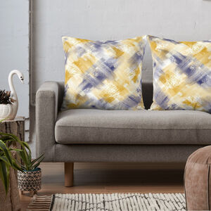 Blue And Mustard Abstract Cushion