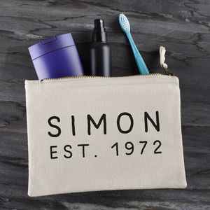 Personalised Established Wash Bag - wash & toiletry bags