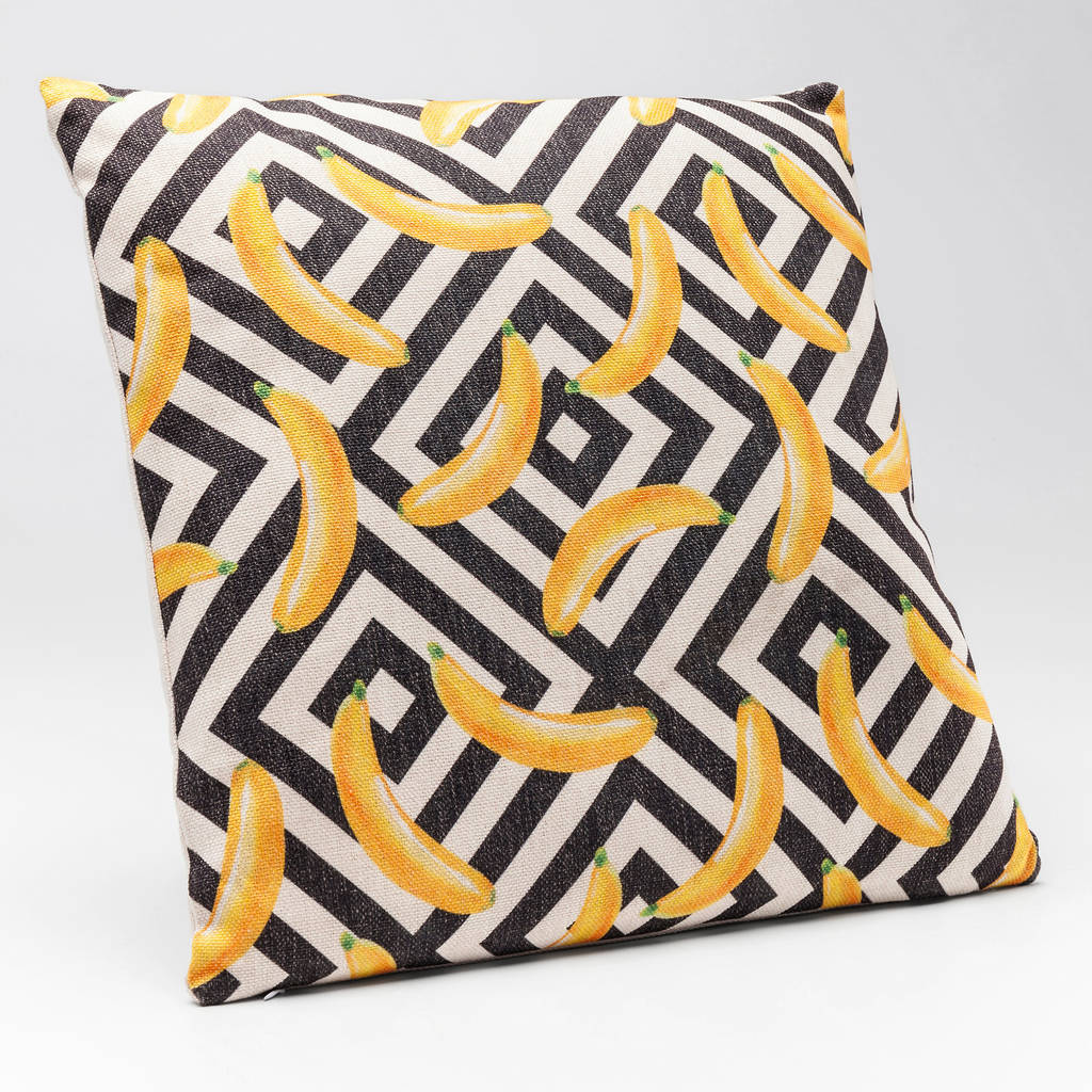 Banana Print Geometric Cushion