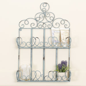 Charming Powder Blue Clover Double Tier Wall Shelf - home accessories