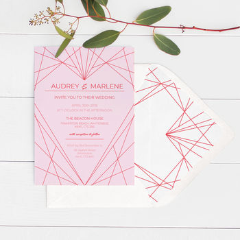 Geometric Heart Wedding Invitations