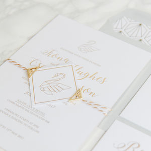30 Origami Swan Gold Foil Wedding Invitations - wedding stationery