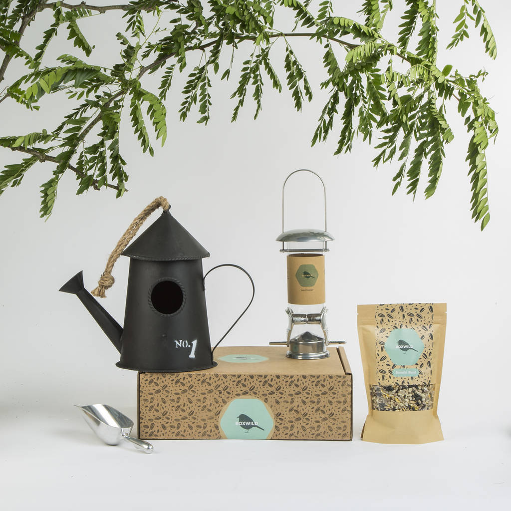 Watering Can Bird House And Seed Gift Box