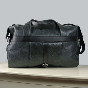 Handcrafted Black Leather Travel Bag - womens