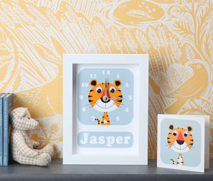 Personalised Framed Animal Clocks - christening gifts