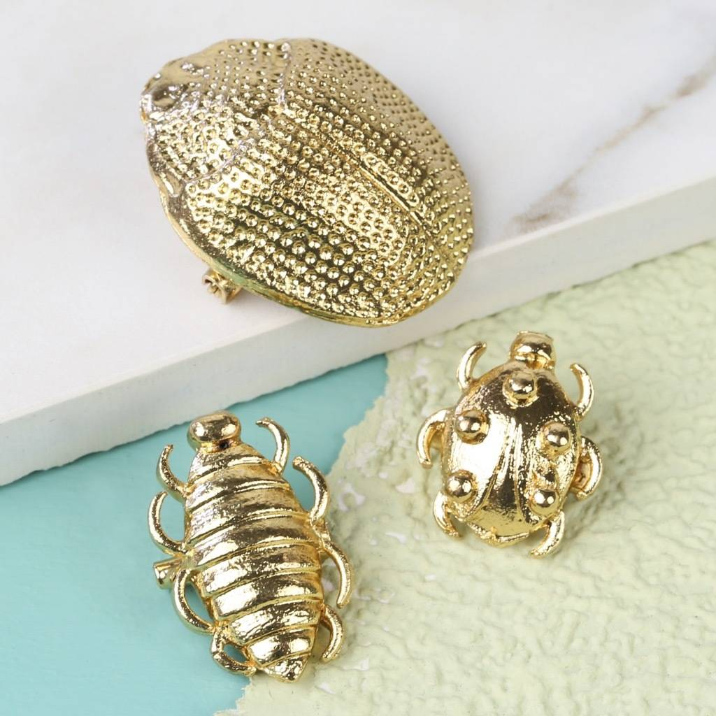Set Of Three Beetle Brooches