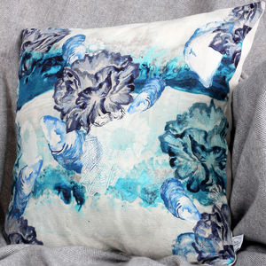 Watercolour Sea Urchin Natural Linen Cushion