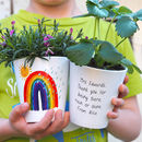 Rainbow Personalised Teacher Plant Pot With Seeds