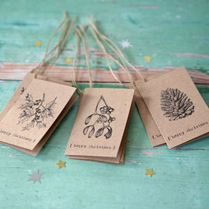 Vintage Christmas Brown Kraft Gift Tags
