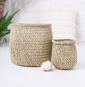 Milulu Grass Natural Open Weave Storage Basket