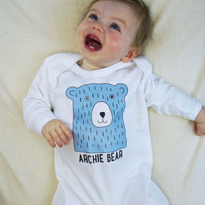 Personalised Blue Bear Sleepsuit