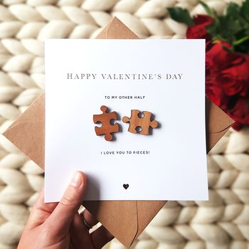 Jigsaw Pieces Gold Foiled Valentines Card