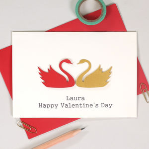 Personalised Pair Of Swans Valentine's Card - wedding, engagement & anniversary cards