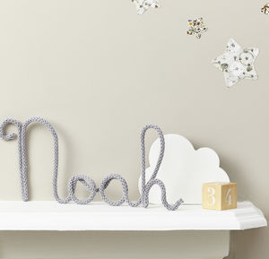 Personalised Cloud Grey Name Sign Knitted And Wire - decorative letters