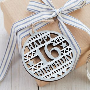 Wooden 16th Birthday Tag