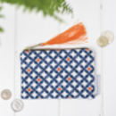 Safiya Purse, Orange And Blue Geometric Pattern