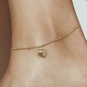 Personalised Initial Heart Anklet In Gold, Rose Silver