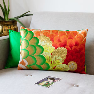 Green Red And Gold Floral Embroidered Cushion
