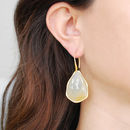 Champagne Sapphire Gold Statement Hook Earrings
