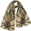 Silk Scarf In Vintage Pearl And Grey Print