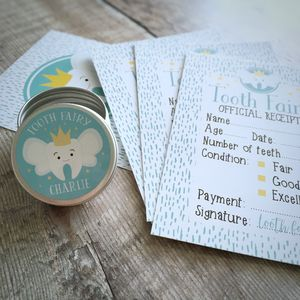 Personalised Tooth Fairy Box And Fairy Receipts Kit